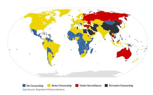 El mapa de la censura web en el mundo