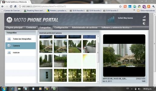 MOTO Phone Portal permite explorar los archivos de nuestro celular y ajustar sus configuraciones directamente desde el browser de la PC.