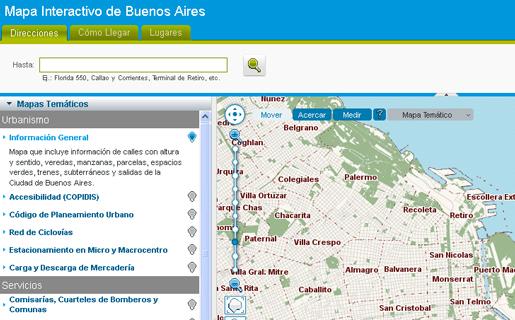 El Mapa Interactivo de Buenos Aires muestra, entre otras cosas, todos los bancos, cines y farmacias de la Ciudad
