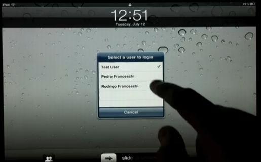 Al iniciar nuestra actividad en el iPad, se nos consultará por el usuario que hará uso de la tablet, solicitando luego la contraseña.