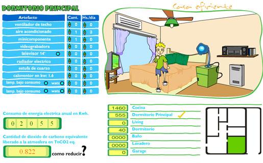 Mediante la cantidad de artefactos y el tiempo que se usa diariamente, los chicos pueden calcular el gasto energético de cada ambiente de su hogar.