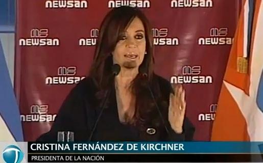 La presidenta Cristina Fernández en la inauguración de la planta (Crédito: Canal Youtube de Telam).