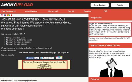 ¡No somos un fake, no somos un SCAM! Se defiende Anonyupload, al tiempo que admite no ser parte de Anonymous.