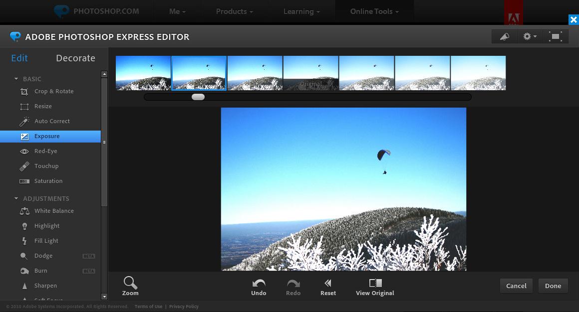 Photoshop online - Comando Exposure (Exposición).