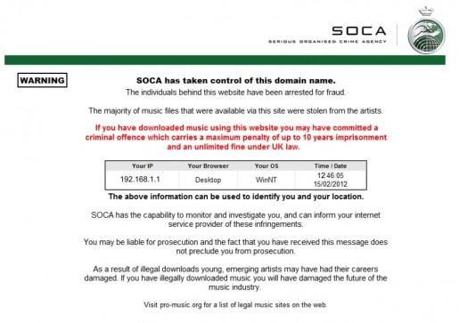 El aviso de SOCA sobre el cierre de la página rnbxclusive.com