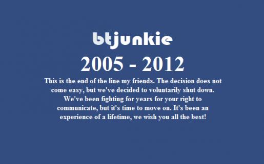 BtJunkie publicó en su portal un mensaje de despedida para todos sus usuarios.