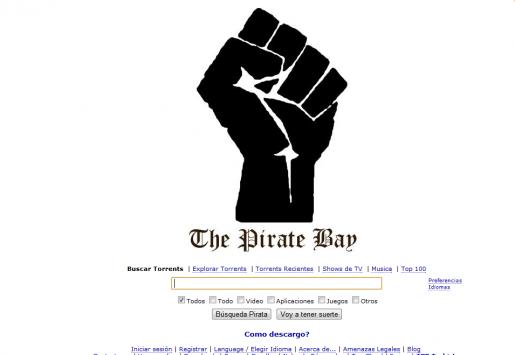 La homepage de The Pirate Bay, luego de conocerse el fallo.