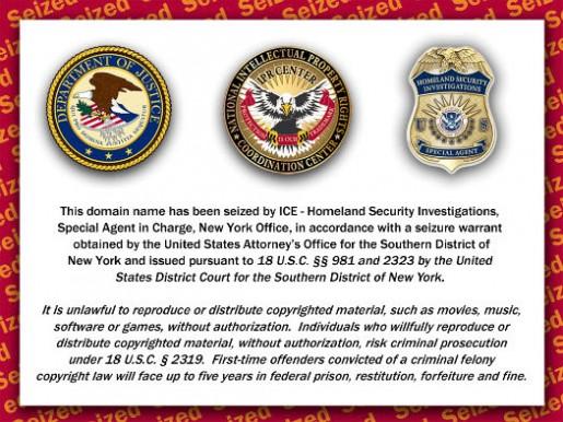 El Departamento de Justicia de EE.UU. coloca este aviso en las paginas confiscadas