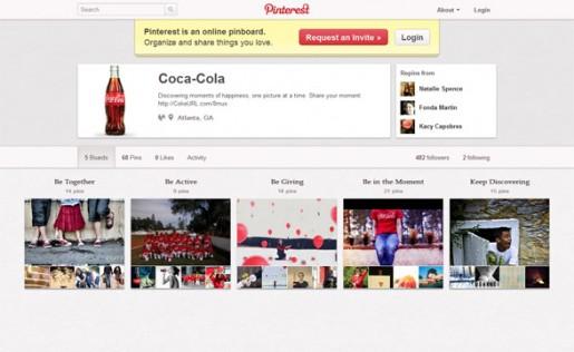 Coca Cola es una de las escasas marcas que pudo registrarse en Pinterest con éxito.