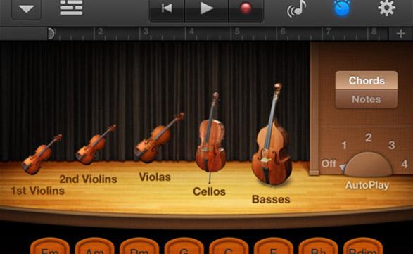La nueva versión de GarageBand incluye una orquesta de cuerdas automática.