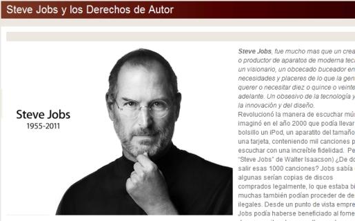 Captura del post publicado por Sadaic sobre Steve Jobs.