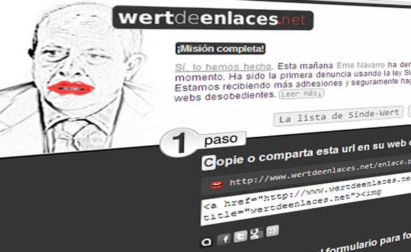 En www.wertdeenlaces.net los sitios españoles pueden registrarse para presentar una autodenuncia masiva.