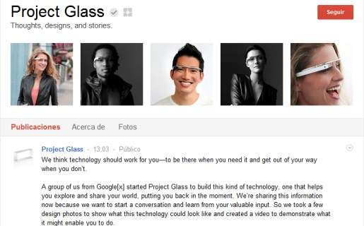 Google eligió su propia red social para promocionar Project Glass.