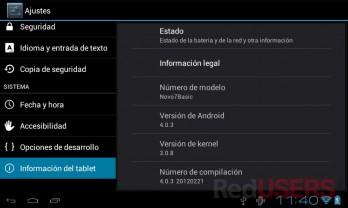 Luego de flashearla, la Novo 7 Basic cuenta con Android 4.0 Ice Cream Sandwich.