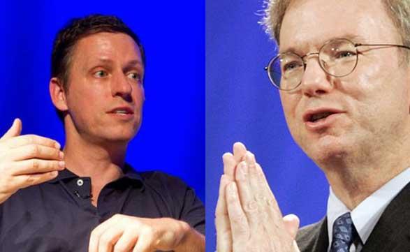 Peter Thiel ataca, Eric Schmidt se defiende.