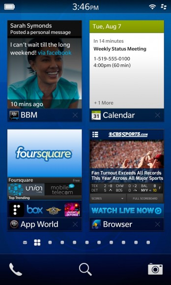 La nueva homescreen de BB10