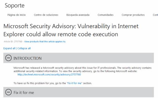 La página de Microsoft con el parche provisorio.