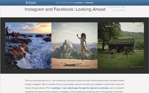 El post de Instagram resaltó el récord de 5.000 millones de fotos compartidas.