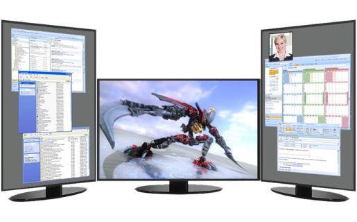"""Tener más de un monitor no sirve sólo para ver mejor los juegos en 3D, sino también para mejorar el """"multitasking""""."""