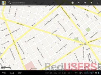 Algunas apps de Google funcionan, como Gmail, Gtalk y Maps (como vemos aquí, aunque la tablet no posee GPS).