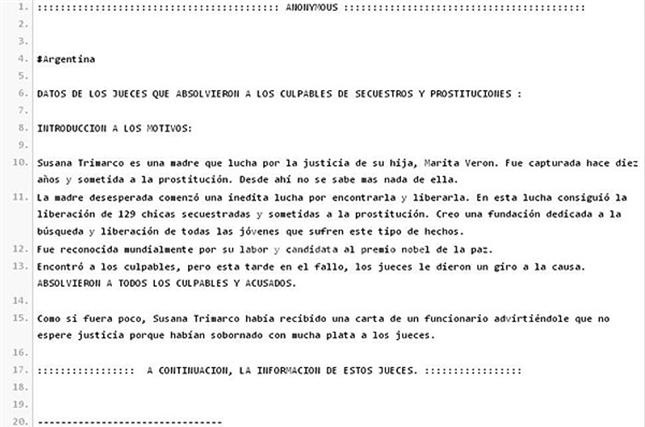 El documento difundido por Anonymous Argentina