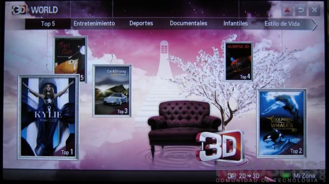 LG ofrece 3D World, su propio catálogo de contenidos 3D.