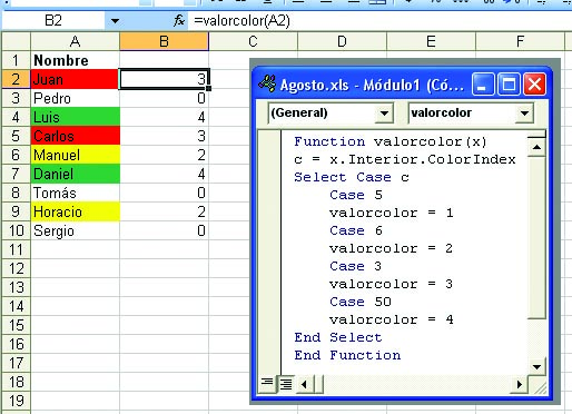 Excel: El valor según el color - RedUSERS