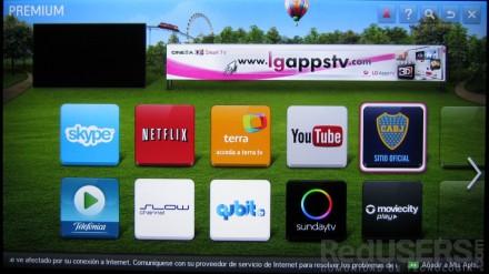 """Aquí vemos la pantalla con las aplicaciones """"premium"""" del SmartTV."""