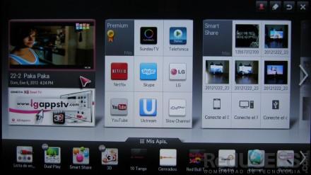 Así es la pantalla Home, que ofrece accesos rápidos a las principales funciones del SmartTV.