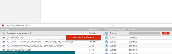 El proceso de cancelar la carga de muchos archivos es muy  engorroso