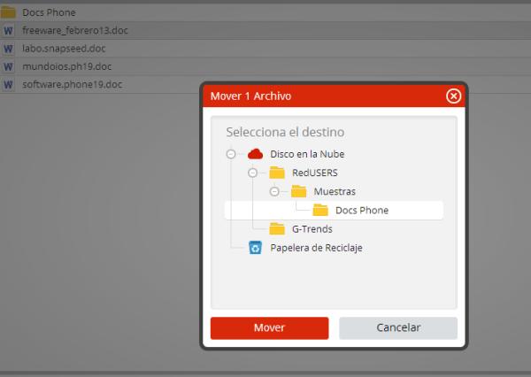 Al seleccionar la copia o movimiento de archivos aparece el árbol de carpetas para elegir destino.