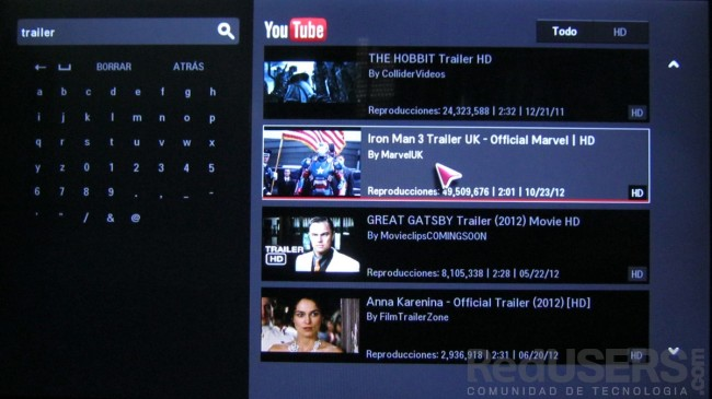 La app de Youtube reproduce sin problemas videos en HD.