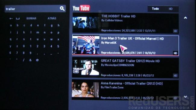 La app de Youtube reproduce sin problemas videos en HD.
