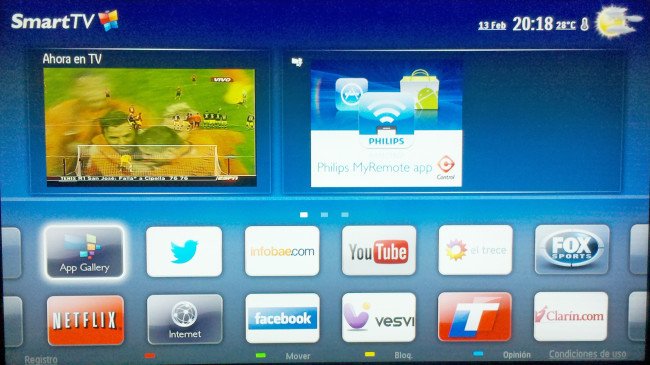 Esta es la pantalla principal de la función Smart TV, brindándonos rápido acceso a nuestras aplicaciones favoritas.