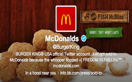 Así quedó la portada de la cuenta de Twitter de Burger King tras el hackeo.