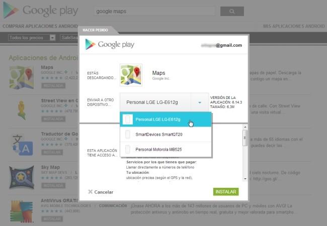 Desde la web de Google Play podemos instalar apps desde la computadora en cualquiera de los equipos Android que tengamos.