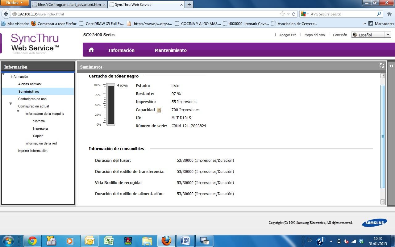 Sync Thru Web Service, nos permite monitorear incluso el estado del cartucho de toner.