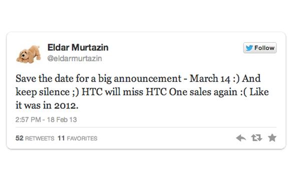 El tweet del periodista ruso Eldar Murtazin que confirmó la fecha de presentación del Samsung Galaxy S IV.