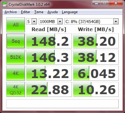 Aquí tenemos el resultado del benchmark CrystalDiskmark. Pueden bajar el programa y compararlo con sus propias notebooks.