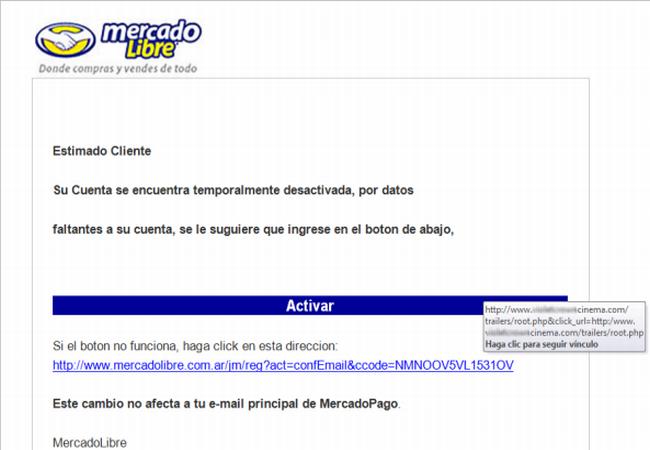 Así se ve el mail que engaña a los usuarios, alertándolos de la suspensión de su cuenta.