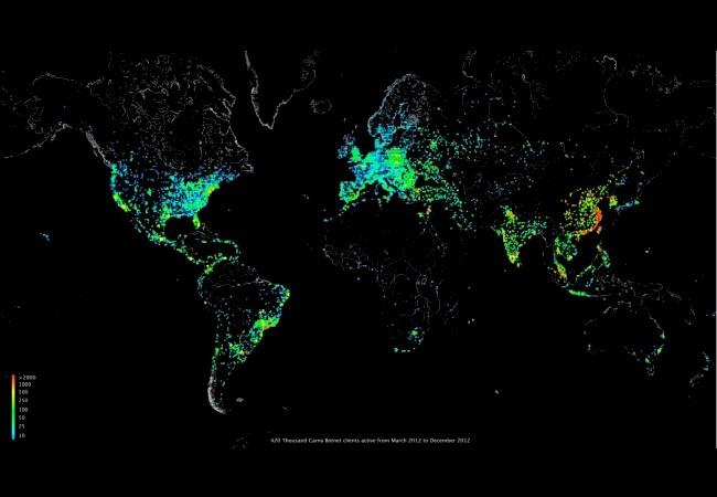 Mapa de calor que muestra la ubicación de los equipos más vulnerables y controlados por Carna.
