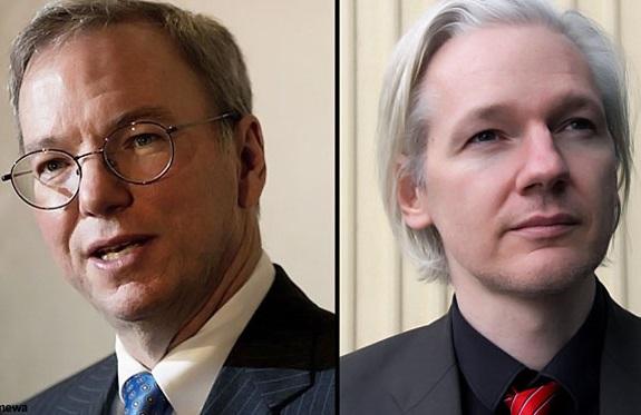 """""""No me importaría filtrar sobre Google"""" bromeó Assange durante el encuentro."""