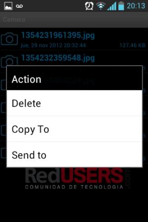 Manteniendo el botón sobre un archivo aparecerá este menú para borrar, compartir (mail, Dropbox, etc.) o enviar.