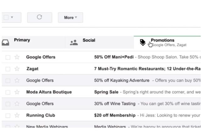 La nueva casilla de Gmail clasifica automáticamente la información mediante pestañas.