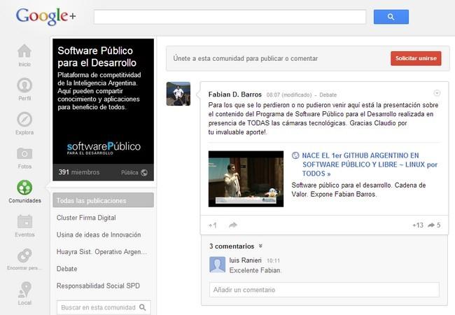 El Programa Software Público para el Desarrollo tiene su propia comunidad en Google+.