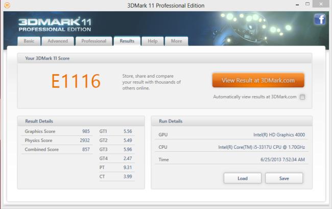 3D Mark 11 Benchmark
