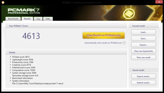 PC Mark 7 Benchmark