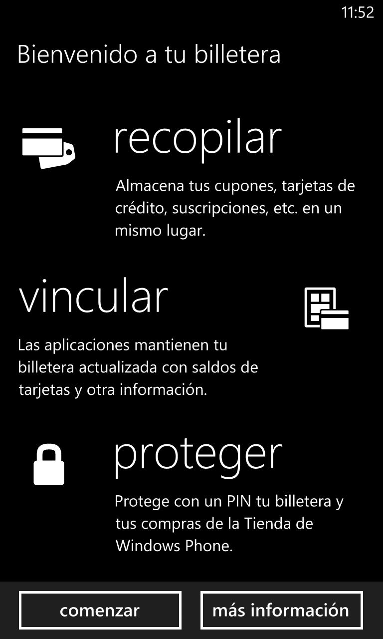 Windows Phone 8 ahora incluye soporte para pagos móviles por NFC, a los que podemos acceder mediante la aplicación Billetera.