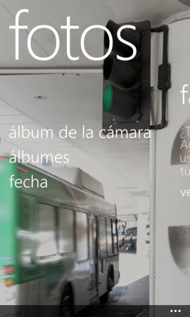 La aplicación de Fotos resume muy bien el diseño de Windows Phone: mucho minimalismo, sumado a gran peso de imágenes y tipografía.