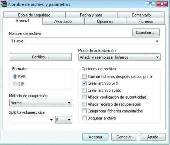 La creación de un archivo autoejecutable es una tarea sencilla gracias a las opciones ofrecidas por WinRAR.